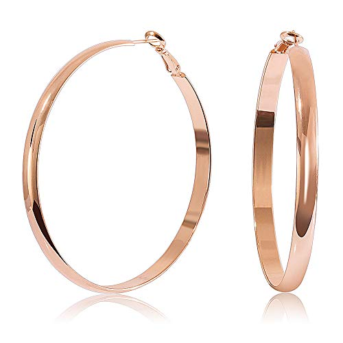 Earrings 60mm Statement Big Wide Hoops ()