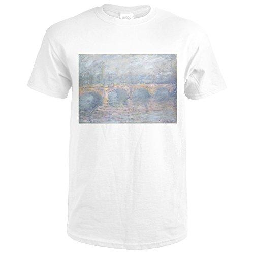 Waterloo Bridge, London, at Sunset - Masterpiece Classic - Artist: Claude Monet c. 1904 (Premium White T-Shirt - Waterloo Premium