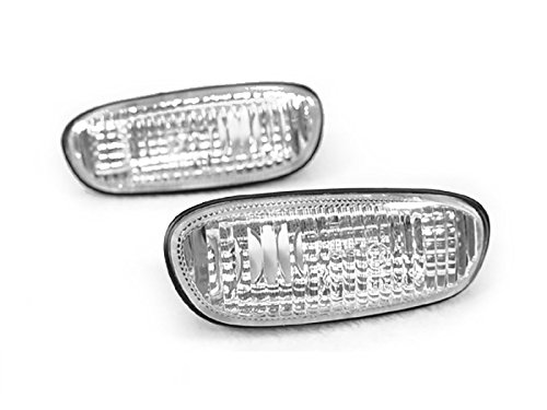 (REVi MotorWerks Crystal Look Chrome Clear Bumper Side Marker Lights by DEPO for 1995-2001 Subaru Classic Impreza)