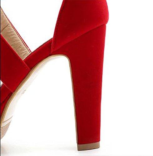 Easemax Piattaforma Donna Alto Tacco Grosso Open Toe Wrap Sandali In Finta Pelle Scamosciata Rosso