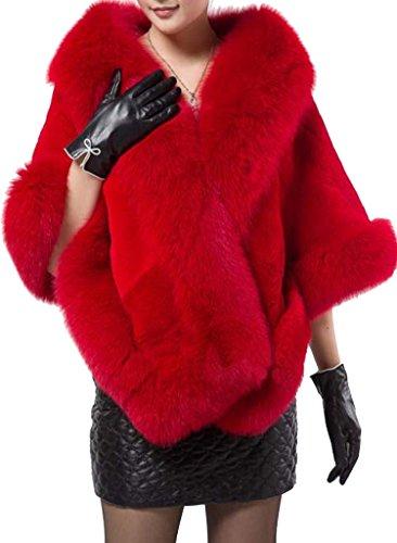 Helan Women's Soft Long Faux Fox Fur Shawl (Fox Fur Coat)
