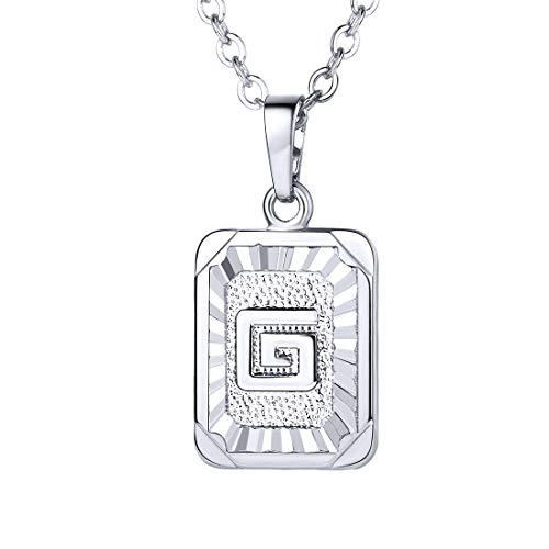 U7 Monogram Necklace A-Z 26 Letters Pendants Platinum Plated Initial Necklaces for Women (Letter G)