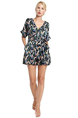 Women's V Neck Palm Print Tie Empire Waist Short Romper Jumpsuit By Kaiseke