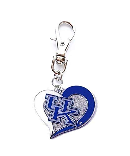 Heavens Jewelry University Kentucky Wildcats Heart Charm ADD to Zipper Pull PET Dog CAT Collar Leash Keychain ETC ()
