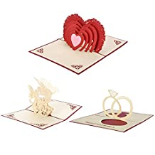 HOUSWEETY 3D Pop-up Laser Cut Memory Greeting Valentine's Day Cards - Angel's Kiss Double Heart and couples Ring