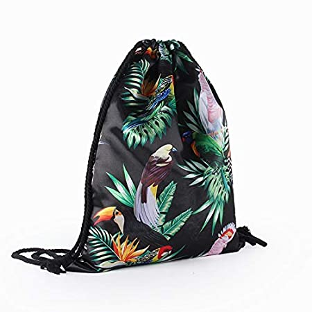 Amazon.com: 2018 Vintage Print Drawstring Backpack Fashion Womens Canvas Beach Travel School Bags with Big Capacity G1745: Kitchen & Dining
