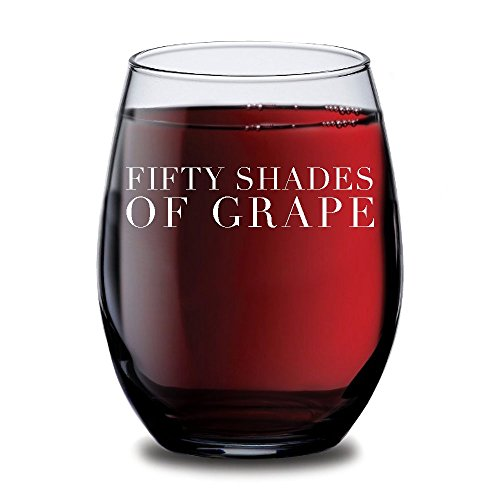 Fifty Shades of Grape Stemless Wine Glass, Perfect Birthday Gift Idea for Wife, Personalized Wine Glass, Mother's Day & Valentine's Day Present, Novelty Wine Glasses, Party Supplies or Decorations, Fu