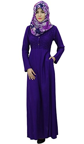 Vêtements Musulman Plein Femme Manches Bimba Robe Maxi Abaya Avec Hizab Violet