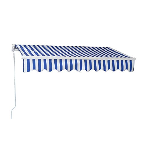 Retractable Patio Awning Canopy (Outdoor Manual Retractable Awning Patio Deck Sunshade Sun Shelter Canopy ,6.5'×5'/8.2'×6.5'/10'×8'/11.5'×10'/13'×10' (10'×8', Blue-White Stripe))