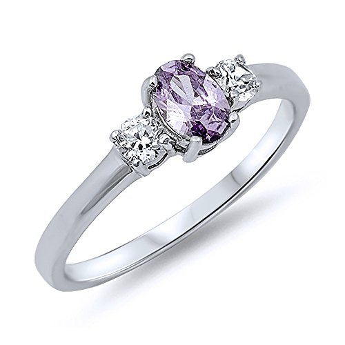 Sterling Silver Oval Violet Purple Color - Band Oval Ring Shopping Results