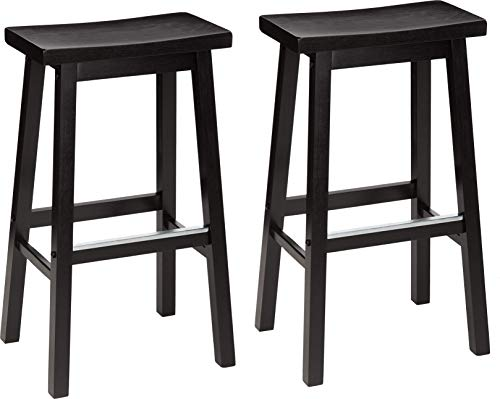 AmazonBasics Classic Solid Wood Saddle-Seat Kitchen Counter Stool with Foot Plate 29 Inch, Black, Set of 2 (Chairs Kitchen Island)