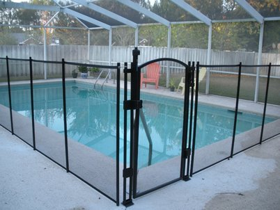Sentry Safety Pool Fence EZ-Guard 4' Tall Self Closing / Self Latching Mesh Child Safety Pool Fence Gate Kit for In-Ground Pools - Black