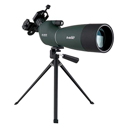 SVBONY SV28 Spotting Scope with Tripod 25-75x70mm Waterproof Angled Bak4 Prism for Target Shooting Bird Watching Hunting (Best Spotting Scope For Target Shooting)