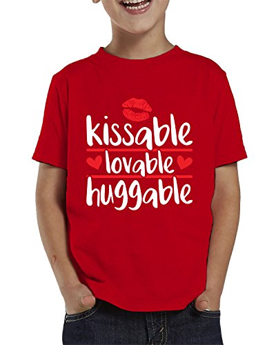 SpiritForged Apparel Kissable Lovable Huggable Toddler T-Shirt, Red -