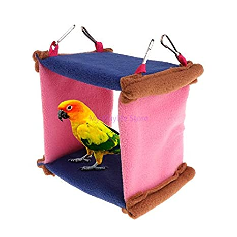 Parrot Toy Soft Bird Collars Plush Parakeet Parrot Hanging Light Parrot Beds Bird Cage Bed Professional Soft Plush Parrot Hammock Bird Snuggle Hanging Cage Poultry Cave Swing Bird Hut