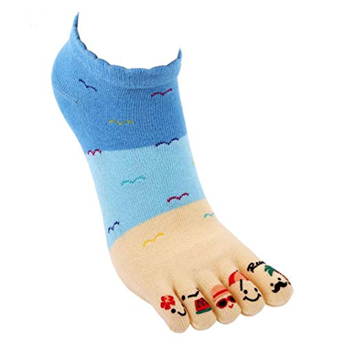 FORUU Fashion Women Cute Five Fingers Anti Slip Cotton Socks Comfortable Socks (Seattle Toilet Paper)