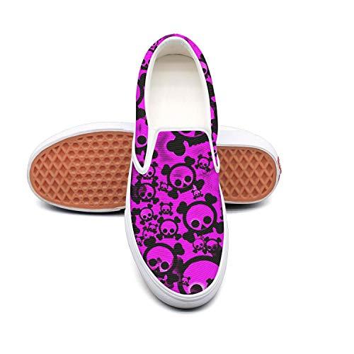 Dark Purple Skull and Cross Bones Women's Classic Slip-On Skateboarding Shoe