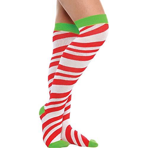 Candy Stripe Knee-High Socks, 1 pair | Christmas Costume