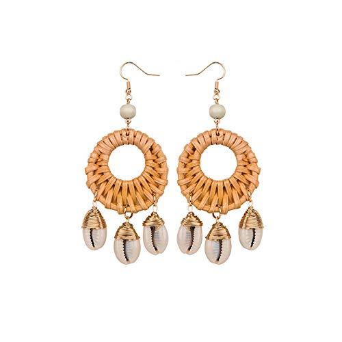 CEALXHENY Shell Rattan Earrings Boho Chandelier Seashell Bead Drop Earrings Hoop