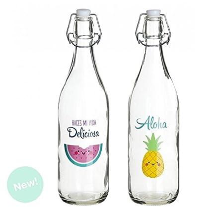 Dcasa - Botellas de Agua con diseño Sandia & Bebe y Vivir (Pack 2 Botellas