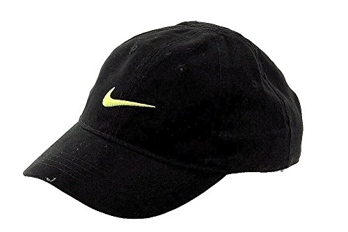 Nike Infants Baseball (NIKE Infant 12/24M Just Do It Sports Hat Adjustable Sun Cap (Black with Signature Volt Swoosh))
