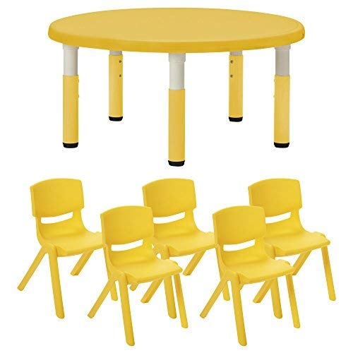 ECR4Kids40 Round Resin Activity Table [並行輸入品] with Classrooms B07N8DMRTS Five 14 Resin Chairs - Indoor/Outdoor Kids Seating Set for Classrooms Daycares Playgrounds Yellow [並行輸入品] B07N8DMRTS, 高速配送:6ef970ec --- 2017.goldenesbrett.net