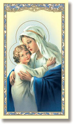 ift Madonna with Jesus Christ Child Memorare of Saint Bernard Prayer Holy Card (Madonna Card)