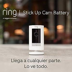 Ring Stick Up Cam Battery, cámara de seguridad HD con comunicación bidireccional, compatible con Alexa | Incluye una prueba de 30 días gratis del plan Ring Protect | Color blanco