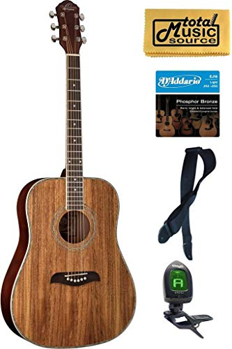 Oscar Schmidt OG2 Dreadnought Acoustic Guitar - Koa Bundle