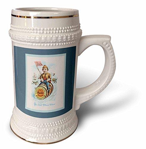 - BLN Vintage Trade Cards Featuring Children - Gold Medal Flour, The Leading Flour Boy Sledding on a Barrel - 22oz Stein Mug (stn_169587_1)