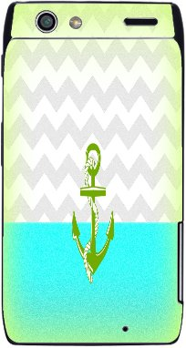 Green Anchor Blue and Yellow Background Image Droid RAZR Vinyl Decal Sticker Skin ()