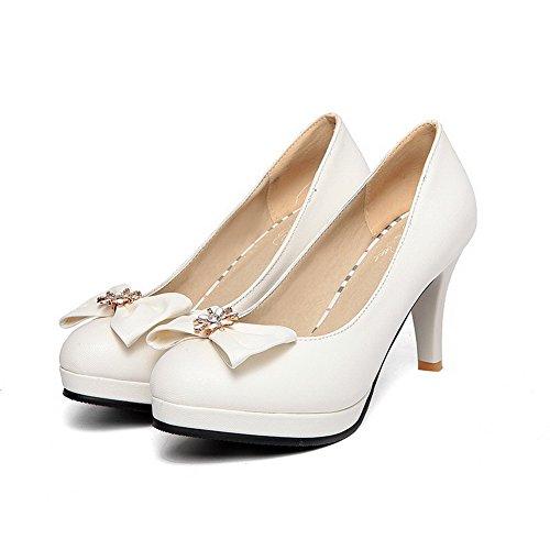 Allhqfashion Dames Pull Op Pu Ronde Dichte Teen Hoge Hakken Stevige Pumps-schoenen Wit