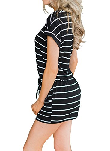 2cab0928ac0 MIHOLL Women s Summer Striped Jumpsuit Casual Loose Short Sleeve Jumpsuit  Rompers