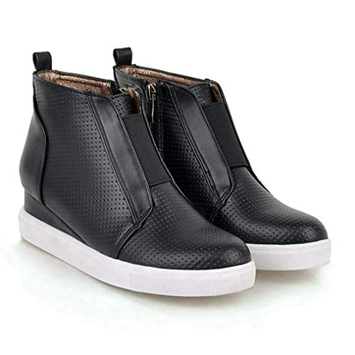 GIY Women's Heel Platform Casual Sneakers Side Zipper High Top Shoes Studded Ankle Booties Wedge High Top Sports Shoes Black