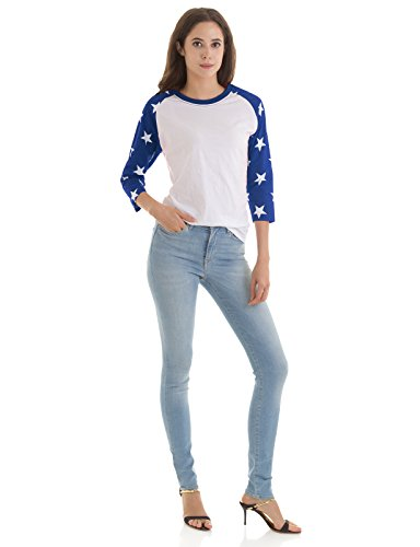 (H2H Womens Solid Casual Round Neck 3/4-Sleeve Raglan Top Tee Shirt WHITEBLUE US S/Asia S (KWTTS0159))