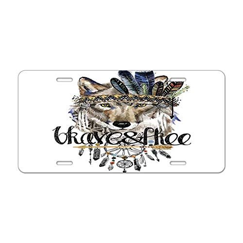 (Mugod Wolf Aluminum License Plate American Indian Chief Headdress War Bonnet Decorative Car License Plate Cover with 4 Holes Car Tags 6