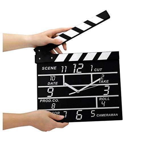 InKach Wall Clock, Cinema Movie Slate Analog Wall Clock Black Clapper Film Home Clock Decor (Black)