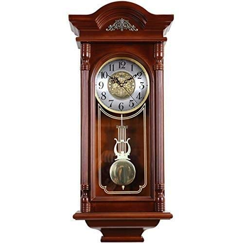 MGE UPS Systems Clock Wall Clock,European Retro Wall Clock Solid Wood Antique Clock Clock Mute Household Living Room Decoration Western Swing Clock
