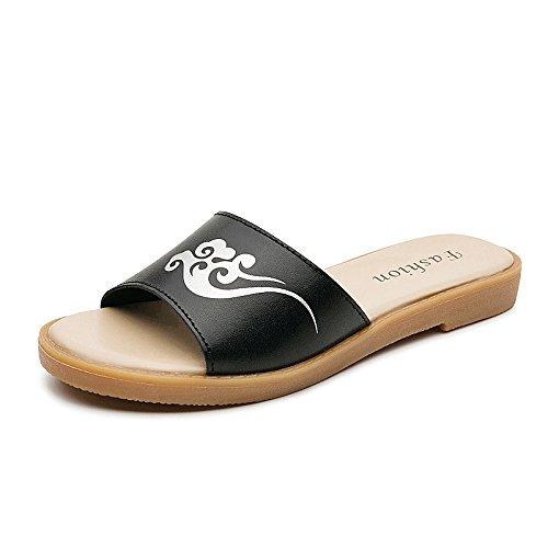Qin&X Women's Casual Sandals Flats Flip Flop Black