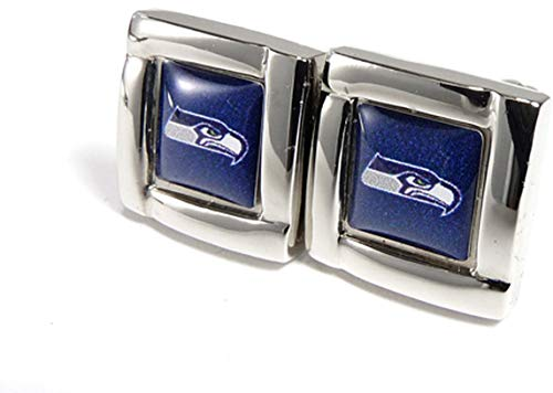 aminco NFL Seattle Seahawks Logo Square Cufflinks with Gift Box Set, One Size, Silver