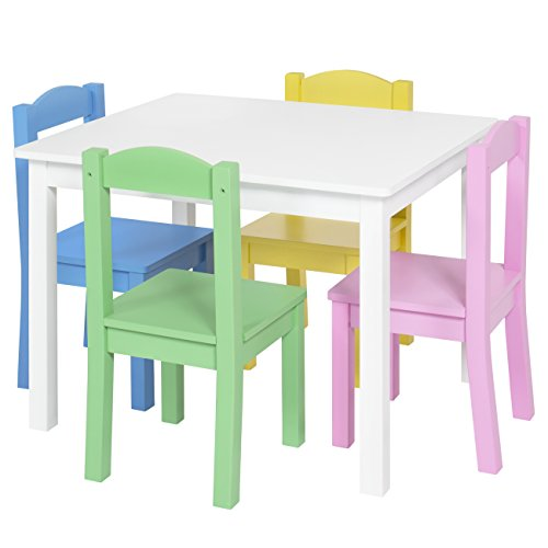 Best Choice Products Kids Wooden Table and 4 Chair Set Furniture- Pastel/White by Best Choice Products