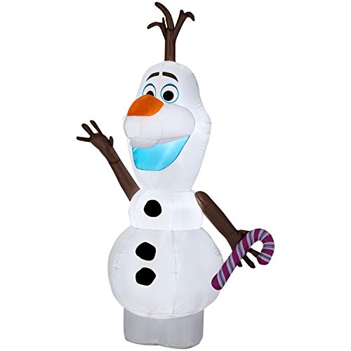 Airblown Inflatables 5.5 Ft. Olaf from Frozen with Candy Cane