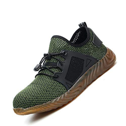 Indestructible Work Shoes Mens Womens, Breathable Safety Steel Toe Athletic Sneakers, Lightweight Construction Carpenter Shoes, 589 Green 45