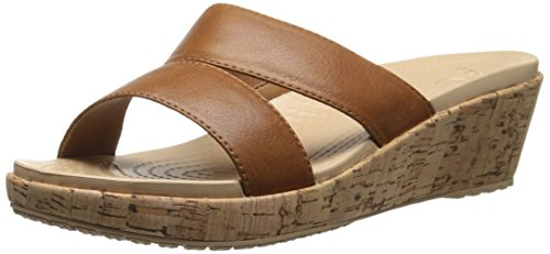 crocs Women's 16205 A-Leigh Leather Wedge Sandal, Cocoa/Gold, 9 M US by Crocs