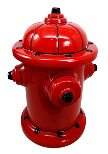 Atlantic Collectibles Ceramic Fire Hydrant Treat Cookie Jar Decorative Figurine - Jar Ceramic Treat