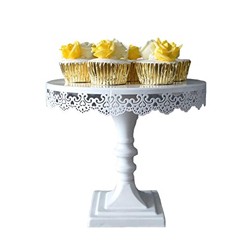 Pedestal Cake Stand, 10 inch White Decorative Dessert Stand and Tray for Tea, Birthday and Wedding Party Cupcake Display, Perfect for Showing Cookies, Brownies, Muffins and Cake Platter(9 inch tall)