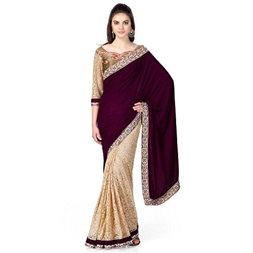 Janasya women's Beige colour Brasso Net saree with velvet pallu - Net Sarees In India