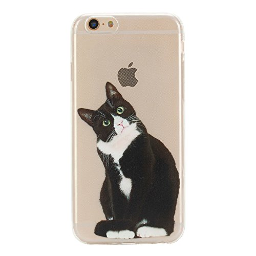 Price comparison product image GreenDimension Amusing Whimsical Creative Design Clear Soft TPU Flexible Shockproof Bumper Premium Transparent Cushion Silicone Scratch Resistant Case Cover For iPhone 6 6s 4.7-inch (Cute Black Cat)
