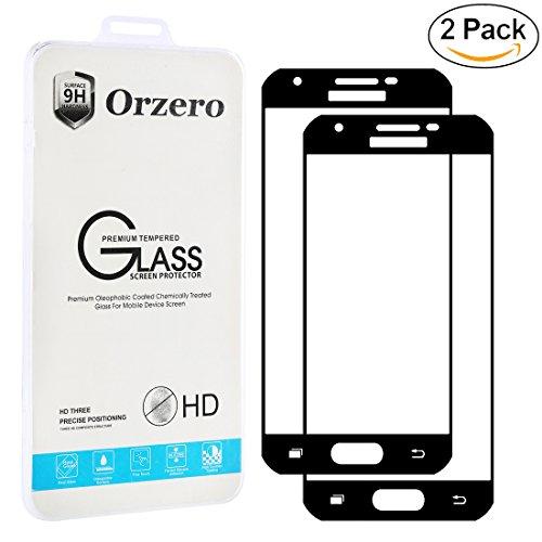 [2 Pack] Samsung Galaxy J3 Luna Pro / J3 Emerge / J3 V / J3 2017 [ Full Cover ] Tempered Glass Screen Protector, Orzero 2.5D Arc Edges 9 Hardness HD Anti-Fingerprint [ Lifetime Replacement Warranty ]