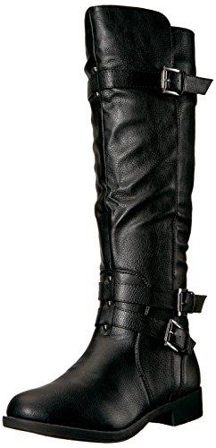 Brinley Co Women's Buffalo Knee High Boot Black 6H760